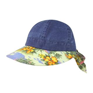 7671B-Ladies' Printed Flower Large Peak Hat