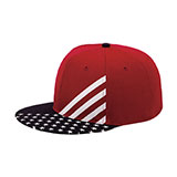 Cotton Twill Flat Bill Snackback USA Flag Cap