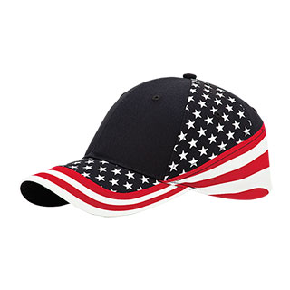 7650A-6 Panel (Stru) Cotton Twill USA Flag Cap