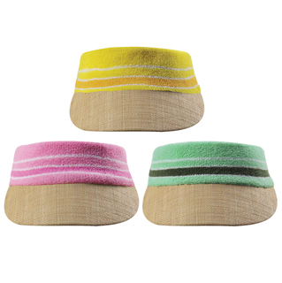 1256-Straw Visor W/Terry Cloth Crown