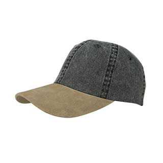7611B-Washed Pigment Dyed Twill Cap W/Suede Bill