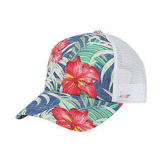 7655N-Floral Print Mesh Cap