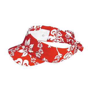 6530D-Hawaiian Flower Print Visor/Kerchief