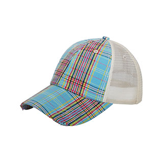 6853-Low Profile (Uns) Plaid Mesh Cap
