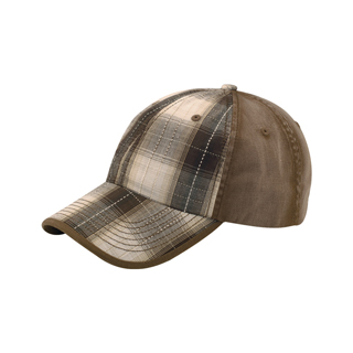 6880-Low Profile Washed Plaid Cotton Twill Cap