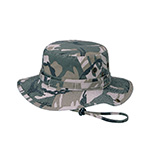 Washed Camouflage Twill Hunting Hat W/Self Fabric Chin Cord