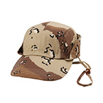 Camouflage Twill Fishing Cap W/Chin Cord